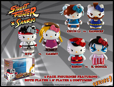 Hello Kitty Street Fighter PVC Box Sets - All 6 figures NEW
