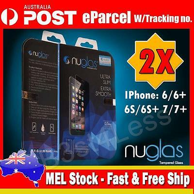 2 X Genuine Nuglas Tempered Glass Screen Protector for iPhone 6 / 6s / 7 Plus