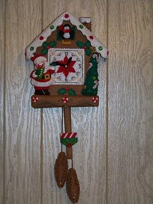 Finished BUCILLA felt wall hanging CHRISTMAS TIME CUCKOO CLOCK completed new