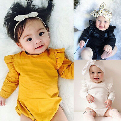 Lovely Newborn Baby Girls Ruffles Romper Bodysuit Playsuit Outfits Clothes 0-24M