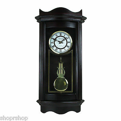 """Bedford Clock Collection Weathered Chocolate Cherry Wood 25"""" Wall Clock with Pen"""