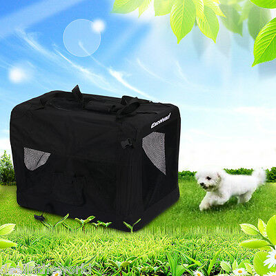 Portable Soft Fabric Puppy Pet Cat Dog House Crate Kennel Travel Cage Black M UK