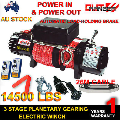 Outranger 12V 14500LBS Electric Winch 26M Rope Remote control Offroad 4WD Truck