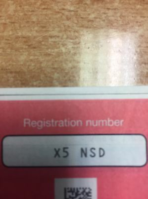 X5 NSD   cherished number plate