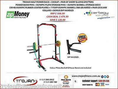 Half Power Rack Heavy Duty Chin Up + Spotters + Olym Weight Plate Storage + DIPS