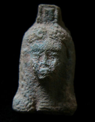 Egyptian Ceramic Finely Modelled Amulet with Fmale Face - 700-600 BC