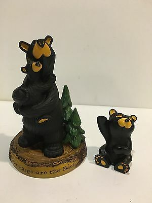 "Lot Of 2 Bearfoots Bears By Jeff Fleming Le Bear Hugs 5"" & Small Bear 2"""