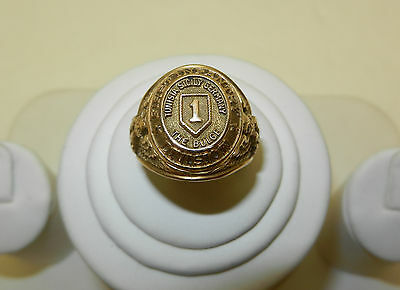 """US ARMY WWII GOLD RING """" Battle The Bulge """" FIRST INFANTRY DIVISION 10K BIG RED"""