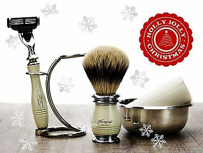 Pure Sliver Tip Badger Hair Shaving Brush Set Of 5 Piece. Perfect Grooming Set
