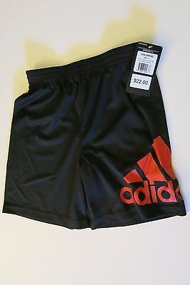 NWT Adidas Boys 5 Black Red Logo Shorts Short Pants Summer Soccer Unisex