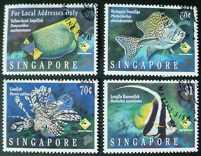 Singapore 1995: Marine Fishes: Set Of 4 Used Stamps