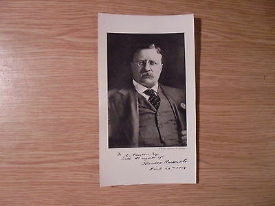 1908 print/picture pre-printed autograph of theodore roosevelt.