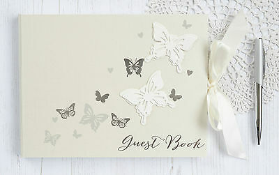 Butterfly Wedding Guest Book. Ivory Wedding Guest Book with Silver Butterflies.