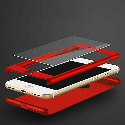 For Apple iPhone 8 6 6S 7 / Plus +Tempered Glass Ultra Thin Slim Hard Case Cover