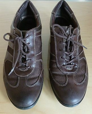 Ecco Brown Leather Trainers Shoes Size 5 38 Lace Up Flat Walking Comfortable