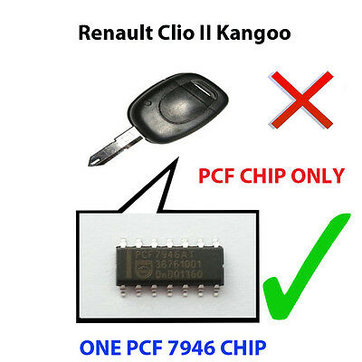 Renault Clio Ii & Kangoo New Pcf Chip7946 Pre Loaded Key Fob Remote Pcf Chip
