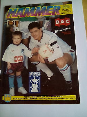 westham united v aldershot fa cup 3rd round replay 16/1/1991