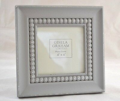 Grey Beaded Square Photo Frame Vintage Distressed
