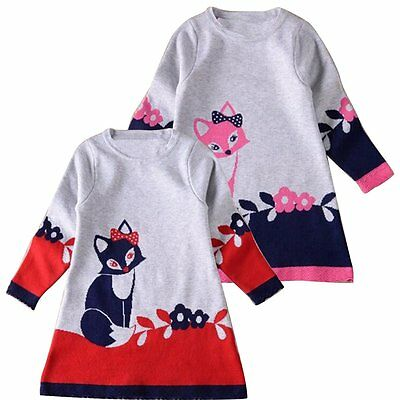 Toddler Baby Girls Long Sleeve Fox Dress Princess Party Dresses Autumn Clothes