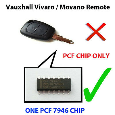 Vauxhall Vivaro / Movano Pcf Chip7946 Loaded Key Fob Remote Pcf Chip