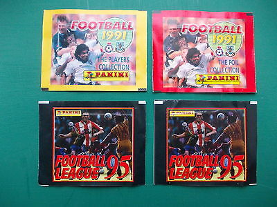 football stickers panini 1991 and 1995 x 4 unopened packets