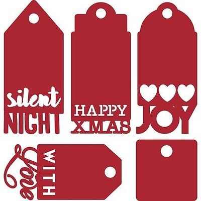 First Edition Christmas Sentiment Tag Cutting Dies - 5 tags