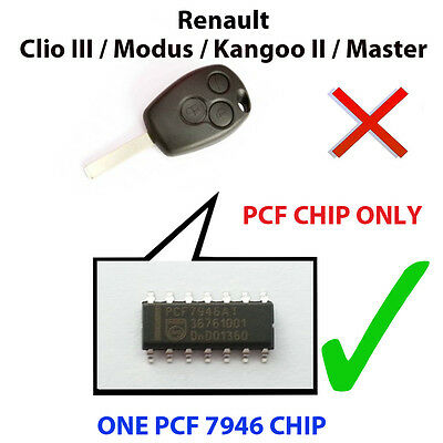 Renault Clio Iii  Kangoo Ii  New Pcf Chip7946 Pre Loaded Key Fob Remote Pcf Chip