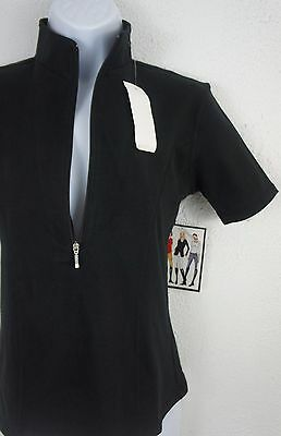 New Goode Rider S Ideal Show Shirt Black Cotton Lycra Fitted Top