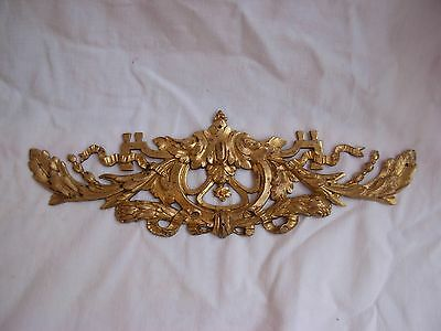 Antique French Gilt Bronze Pediment,late Xix Century.
