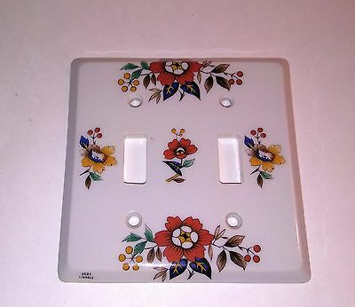 Vintage Light Switch Double Plate Kitchen Decor Flowers - Never Used In Box