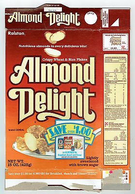 Almond Delight 15 oz. Cereal Box 1987 Ralston Save Misc. Coupons on back