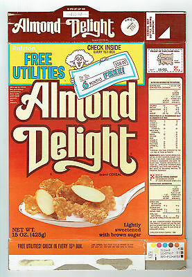 Almond Delight 15 oz. Cereal Box 1987 Ralston Free Utilities Offer