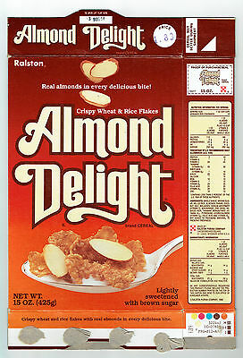 Almond Delight 15 oz. Cereal Box 1986 Ralston Real Almonds - Recipes on back