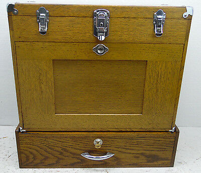 Vintage H GERSTNER & SONS 11-DRAWER OAK MACHINIST TOOL BOX CHEST with riser box