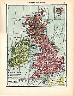 1912 TWO ORIGINAL MAPS England Wales and British Isles CRAM ATLAS