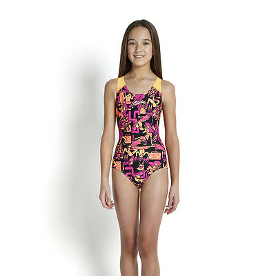 NEW Speedo Girls Allover Print 24 Swimming Costume