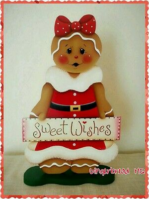 HP Hand Painted Standing Gingerbread Girl Figurine, Red Dress,  Christmas Sign