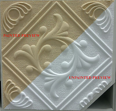 """""""ANET"""" Polystyrene Ceiling Tiles Fire resistant (pack of 8) 50cmx50cm"""