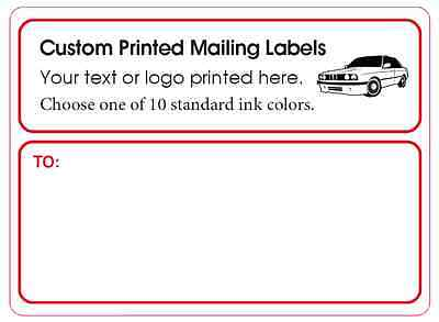 1,000 Custom Printed Mailing Labels, Business Shipping Stickers, 1 ink color 4x3