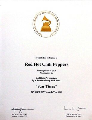"""RED HOT CHILI PEPPERS """"Scar Tissue"""" 1999 Grammy Nomination CERTIFICATE & Folder"""
