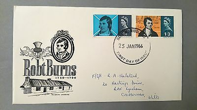 Ist Day Cover Commemoration Robert Burns 25 January 1966