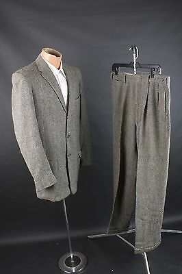 "Vtg 1956 Dated Mens Wool Tweed Suit 3 Button Jacket sz 38 50s Pants 34"" #1582"