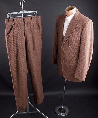 "Vtg 1970s 30s Style Belted Back Wool Suit Jacket sz M Pants 33x31"" 70s #1835"