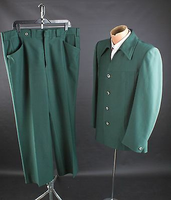 "Vtg 70s Mens Green Polyester Leisure Suit Jacket sz L Pants 39x31""  #1850 Disco"