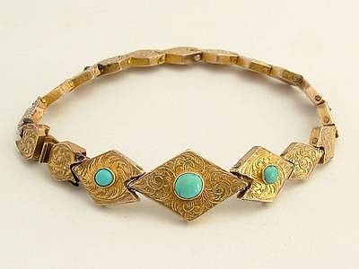 Antique Estate Engraved Gilt Metal/Pinchbeck and Turquoise Bracelet