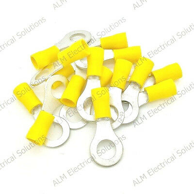 Yellow 8.4mm Ring Eyelet Terminals - Pre-Insulated Earth Connectors M8 - Pk 10