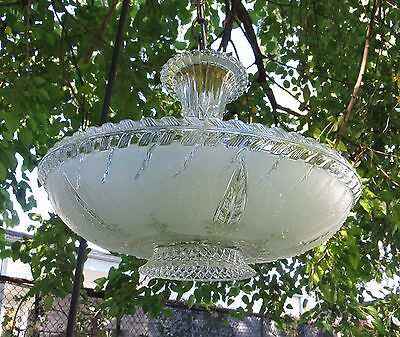 Antique Art Deco Ceiling Light Fixture Frosted Glass Pendant Chandelier