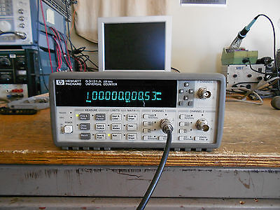 HP 53131A Universal Counter with options 030 (3GHz) and 010 (oven oscillator.)