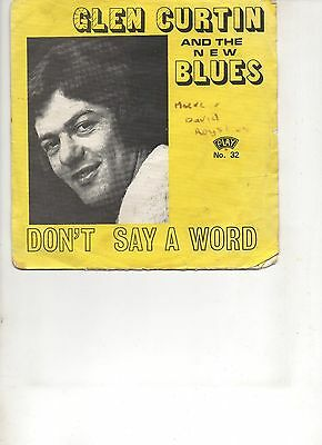 "Glen Curtin & The New Blues ""Don'T Say A Word"" 1972 Picture Sleeve Rare Irish Pr"