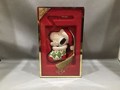 Lenox Peanuts Snoopy in Stocking Christmas Tree Ornament w/ Box